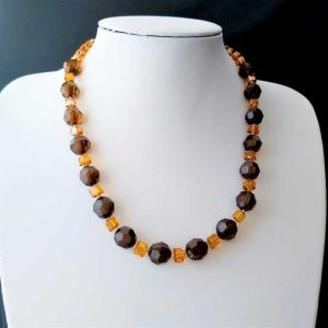 Orange & Brown Bead Necklace