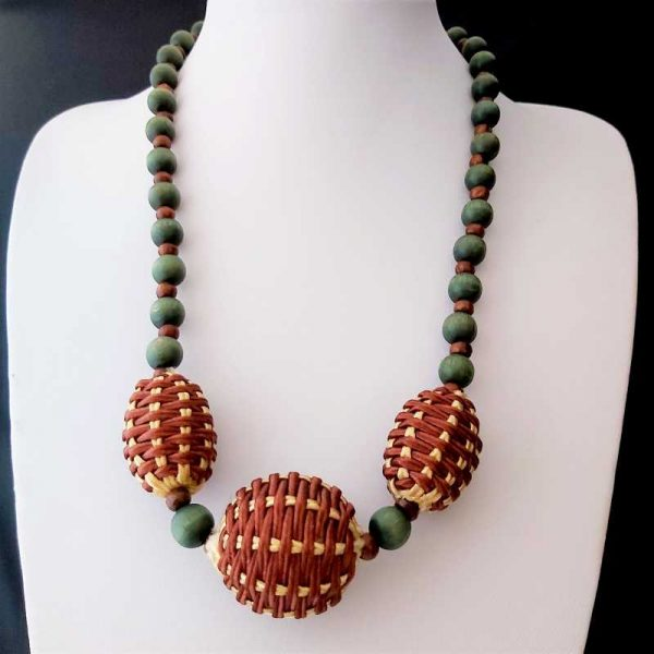 Green & Brown Bead Necklace