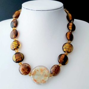Golden Brown Bead Necklace