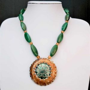 Green & Bronze Bead Necklace