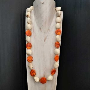 Chunky Orange & Cream Beads