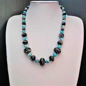 Blue & Black Bead Necklace