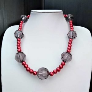 Chunky Crystal & Red Bead Necklace