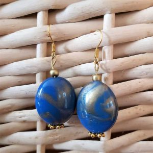 Mottled Blue Earrings