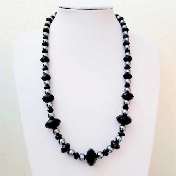 Black & Grey Bead Necklace