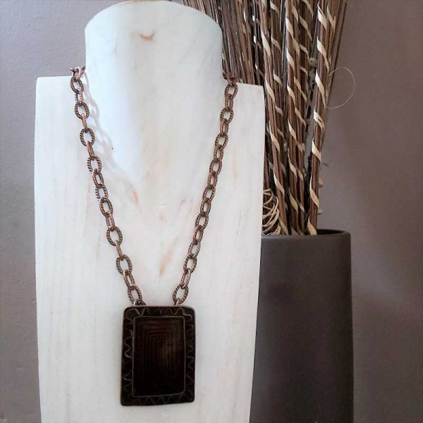Chunky Brown Square Necklace