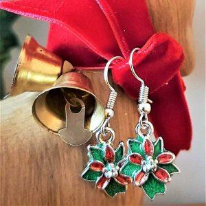 Poinsettia Christmas Earrings