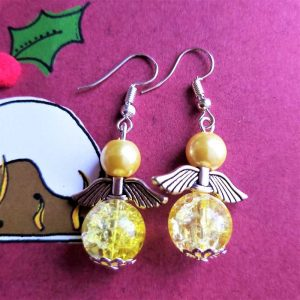 Large Yellow Angel Earrings