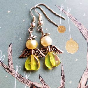 Small Yellow Angel Earrings