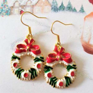 Colourful Christmas Wreath Earrings