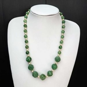 Green & Pearl Necklace & Earring Set