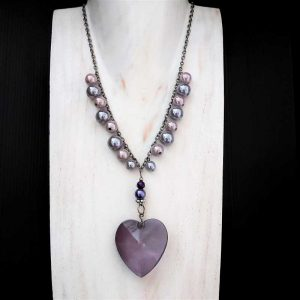 Large Purple Heart Necklace