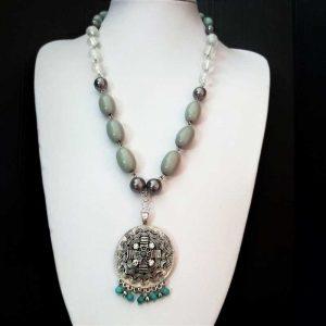 Grey Feature Pendant Necklace