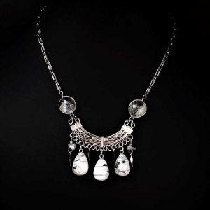 White Bead Ethnic Necklace