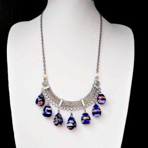 Navy Bead Ethnic Necklace