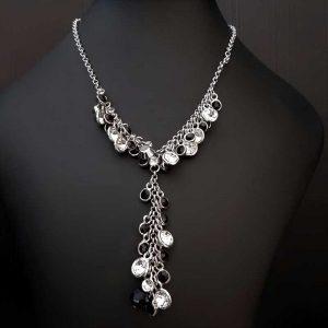 Black & Diamante Drop Necklace