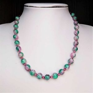 Lilac & Green Bead Necklace