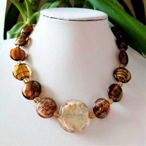 Golden Brown Bead Necklace