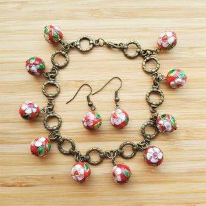 Red Bead Bracelet & Earring Set