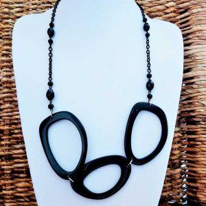 Black Linked Statement Necklace