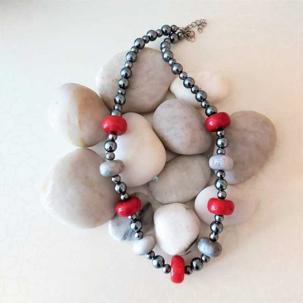 Grey & Red Beads
