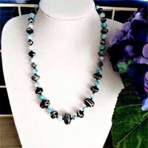 Blue & Black Bead Necklace