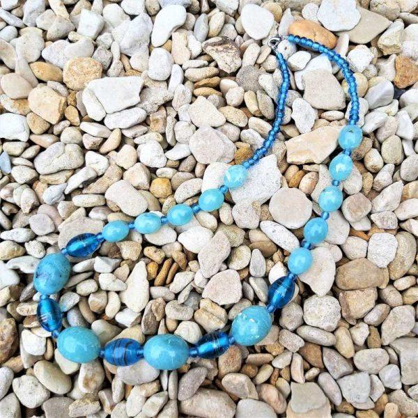 Blue Bead Mix Necklace