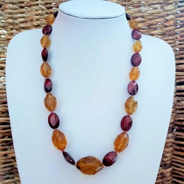Maroon & Orange Bead Necklace