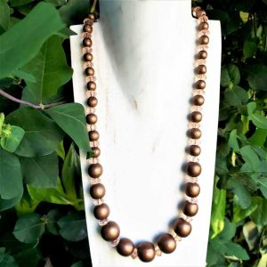 Brown Bead & Peach Crystal Necklace