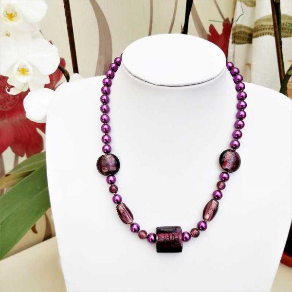 Deep Purple Bead Necklace
