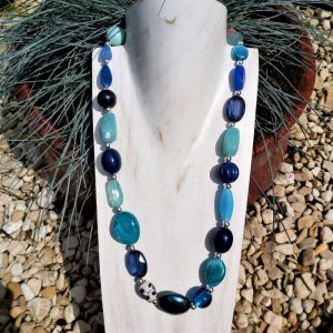 Chunky Blue Bead Necklace