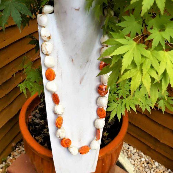 Chunky Orange & Cream Beads