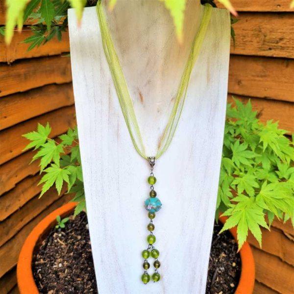 Long Green Bead Pendant